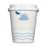 Porzellan Coffee to go Eaerlybird blue