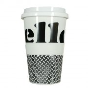 Porzellan Coffee to go Hello black