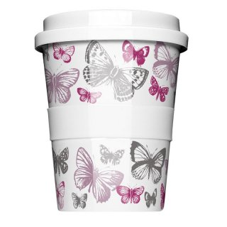 Porzellan Coffee to go Butterfly purple