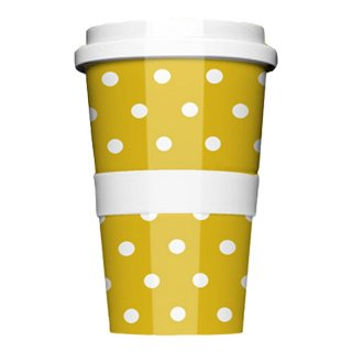 Porzellan Coffee to go Polkadots Yellow