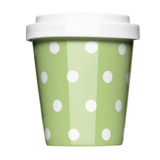 Porzellan Coffee to go Polkadots green