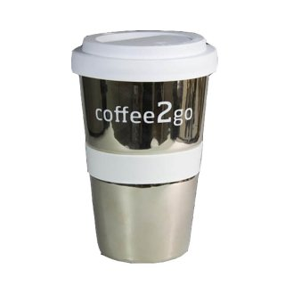 Porzellan Coffee to go Silber